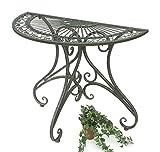 DanDiBo Tisch Halbrund Wandtisch Halbtisch 130434 Beistelltisch aus Metall 90 cm Gartentisch Konsole