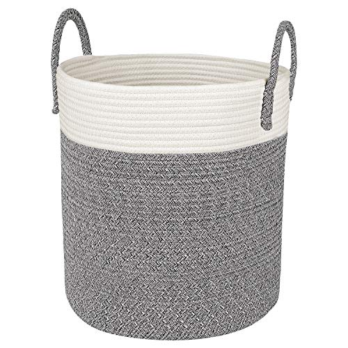 """CherryNow Medium Cotton Rope Basket – 13""""x15"""" Decorative Woven Basket for Laundry, Baby, Blanket, Towels, Home Storage Container (Grey)"""
