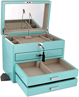 Aevitas XL Size Tiffany Blue High Lacquer Jewelry Box with Luxury Lining