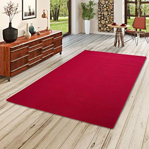 STRONG Feinschlingen Velour Teppich Rot in 24 Größen, Größe:200x250 cm