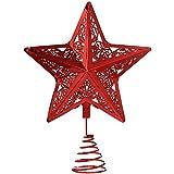 WeRChristmas-Decorazione per albero di Natale a forma di stella, in plastica, colore: rosso, 30 cm