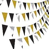 DELSEN Paquete de 4 banderines de bandera de triángulo de 40 pies para boda, baby shower, despedidas de soltera y suministros de fiesta (oro negro y plata brillante)