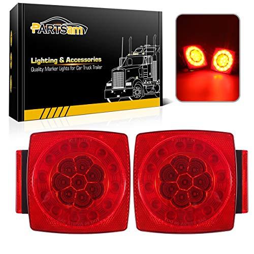 Partsam 12V LED Trailer Light Kit, Halo Glow Submersible Square Tail...