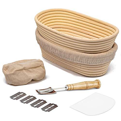 MIUTME Brot Gärkörbchen inkl Oval 2er Set,10 Zoll Gärkorb Brotteig Banneton aus Natürlichem Peddigrohr für professionelle Hausbäcker(mit Leineneinsatz,Teigschaber,Brot Lahm)