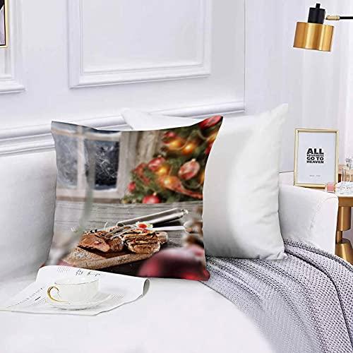 Funda de algodón 45 x 45 cm Navidad Plato Filete Delicioso Sofá Throw Cojín Almohada Caso de la Cubierta para Sala de Estar 45x45cm