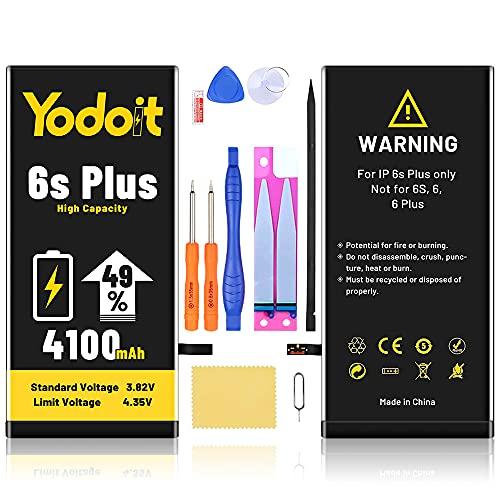 Yodoit Reparatur-Set für iPhone 6S Plus Akku 4100mAh, Bis zu 49% höhere Akkukapazität Ersatzakku mit hoher Kapazität Ersatzbatterie mit Werkzeug|Langlebiger Akku für iPhone 6S Plus