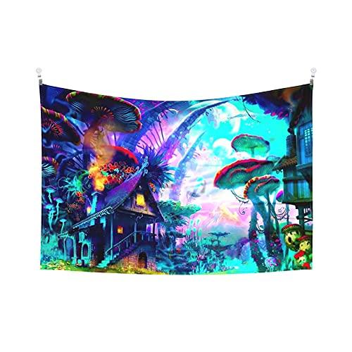 Tapiz psicodélico del castillo de la bruja del cuento de hadas de la seta colorida surrealista abstracta del bosque para colgar en la pared Tapices para decoración de la habitación de 156 x 100 cm