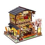 Kit De Casa De Muñecas De Bricolaje En Miniatura Con Muebles De Madera, Mini Kit De Modelo Artesanal Casero De Estilo Japonés Hecho A Mano Con Cubierta Y LED, Juguete Creativo De Casa De Muñecas 3D