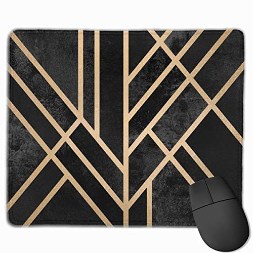 Whecom Gaming Mauspad Schwarz, Art Deco Black Mouse Pad Non-Slip Rubber Base Gaming Mousepad for Office Computer Laptop