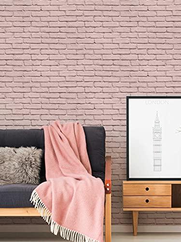 BEAUTIFUL WALLS 358563 - Papel pintado (fieltro), diseño de ladrillo, color rosa mate