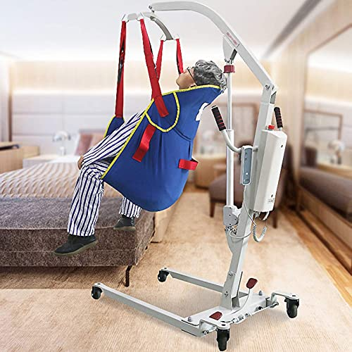 FMOGQ Patient Lifting Hoist, Compact Folding Portable Patient Hoist Lifts Quality Patient Moving & Handling Aid, up to 150kg,Silver,Manual