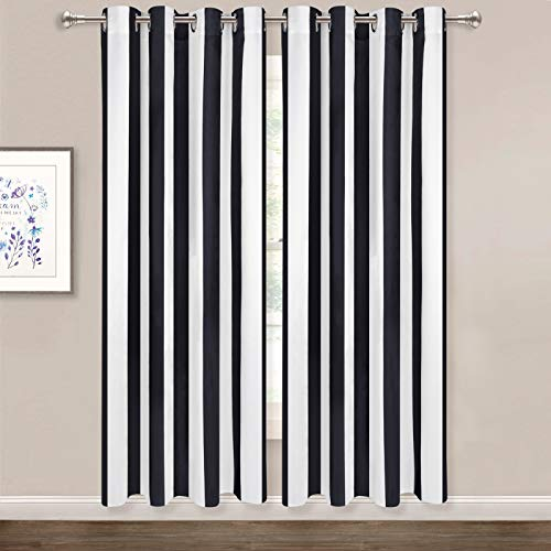 Striped Window Curtains, Black and White Vertical Stripe Curtain Panel, Window Drapes with Grommets for Bedroom Living Room Decor, Set of 2 Panels, 52 x 63 Inch Length