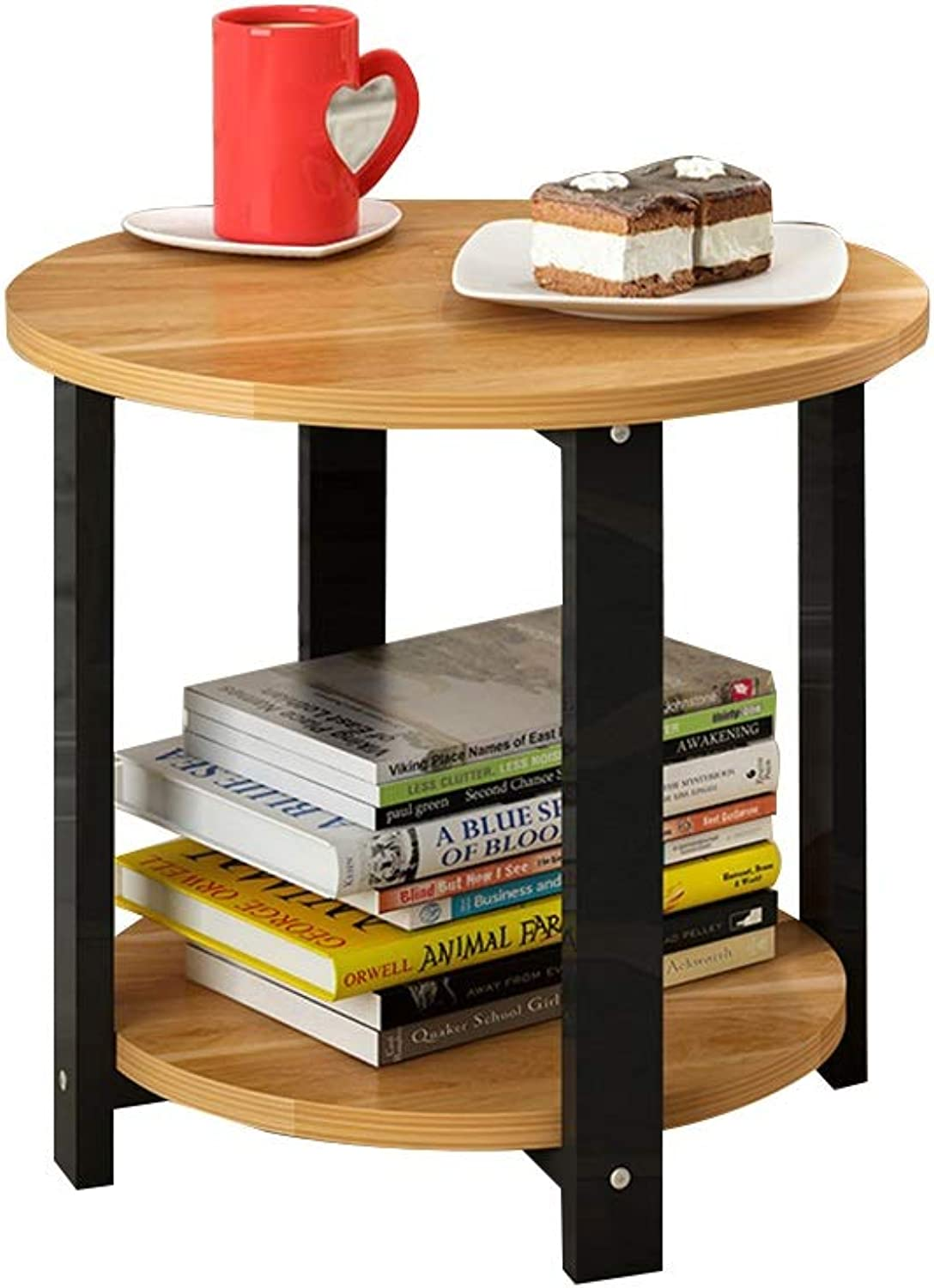 Coffee Table Small Round Table, Farewell Messy Double Storey Solid Wood Small Coffee Table for Living Room Balcony (color   Brown)