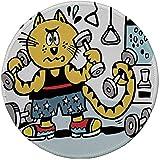Rundes Mauspad, Fitness, Katze im Cartoon-Stil mit Gewichten im Fitnessstudio Komfort Schwitzen...