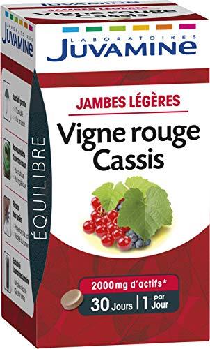 Juvamine JAMBES LEGERES - VIGNE ROUGE CASSIS 2000mg de plantes, 30 comprimés