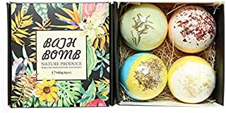 Bath Bombs Gift Set, JRINTL 4 made Fizzies, Shea & Coco Butter Dry Skin Moisturize, Perfect for Bubble & Spa Bath. Handmad...