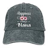 La Felicidad es ser un Sombrero de Regalo del día de la Madre de Nana, Gorra de béisbol Ajustable, Gorra de Camionero Lavada de algodón Lavable, Gorra de papá