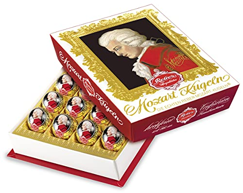 Reber Mozart-Barock, Echte Reber Mozart-Kugeln, Pralinen aus Zartbitter-Schokolade, Marzipan, Nougat, Tolles Geschenk, 20er-Packung