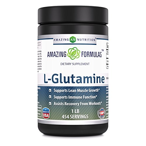 Amazing Nutrition Amazing Formulas L-Glutamine Powder Supplement – 1lb jar- 1g Per Scoop (Approx. 454 Servings)- Promotes Workout Recovery, Supports The Immune System & Muscle Maintenance*