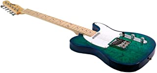 Monoprice Indio Retro DLX Quilted Maple Top Electric Guitar - Trans Blue Aqua With Heavy-Duty Gig Bag