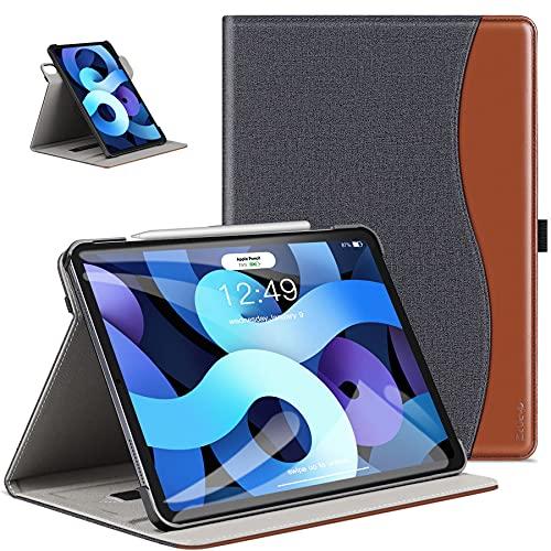 ZtotopCase Funda para iPad Air 10.9 2020, Carcasa de Cuero con Bolsillo y Soporte, Funda de Cuero Empresarial para iPad Air 4 - Denim Negro