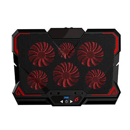 sbay Cooling Pad - Base de refrigeración para portátil (6 ventiladores LED silenciosos, flujo de aire, ajustable, para portátil), color negro y rojo