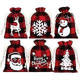24 Pieces Christmas Gift Bags Buffalo Plaid Drawstring Bags Snowman Snowflake Elk Santa Small Sack...