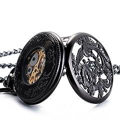 ManChDa Pocket Watch Lucky Dragon & Phoenix Vintage Mechanical Steampunk Skeleton Roman Numerals Black Fob Watch with Chain for Men Women #4
