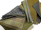 Tweed Patchwork-Reste aus 100 % Wolle, Quadrate, 23 cm, 10