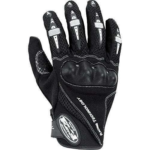 FLM Motorradhandschuhe kurz Motorrad Handschuh Sports Leder/Textilhandschuh 1.0 schwarz L, Unisex, Sportler, Sommer