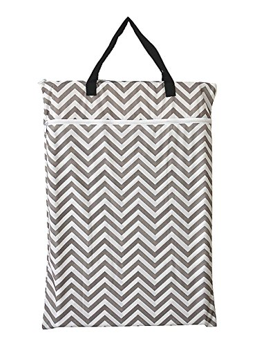 Large Hanging Wet/dry Cloth Diaper Pail Bag for Reusable Diapers or Laundry (Grey Chevron)