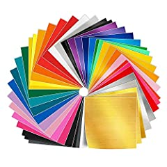 """12"""" X 12"""" vinyl 50 sheets in amazing 38 different colors, 3 mil thickness . Check the product description for a detailed description of the colors and quantity Adhesive backing and liner for Ultra easy use, No more cheap backing ruining and separatin..."""