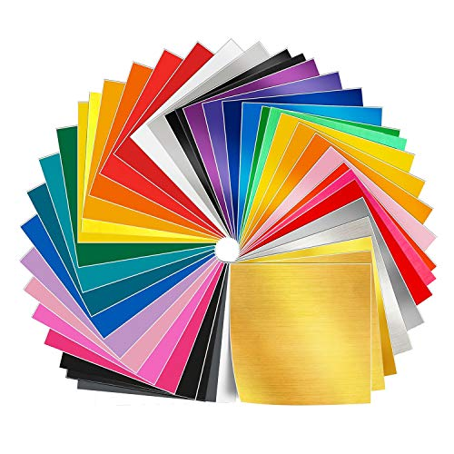 50 Pack 12'' X 12'' Premium Permanent Self Adhesive Vinyl Sheets in 38 Assorted Colors for Cricut,Silhouette Cameo,Craft Cutters,Printers,Letters,Decals