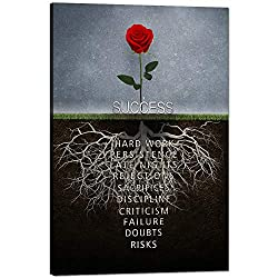 Success Rose Wall Art Inspirational Entrepreneur Canvas for office wall decor