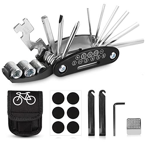 Sporgo Fahrrad Multitools,16-in-1Fahrrad Werkzeug Set,Fahrrad Reparatur Werkzeug Set mit Tasche Selbstklebendes Fahrradflicken,Fahrrad Multifunktionswerkzeug für Mountainbike und Rennräder