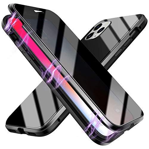 Suhctup Compatible con iPhone 6/iPhone 6S Funda de Magnética Anti-pío Carcasa 360 Grados Protección Doble Cara Transparent Vidrio Templado Marco Aluminio Antigolpes Caso-Negro