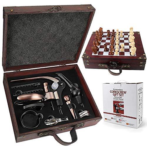Yobansa Caja de madera antigua, accesorios para vino, set de regalo, abrebotellas de vino, sacacorchos, tapón vertedor de vino y un ajedrez de madera (estilo 07)