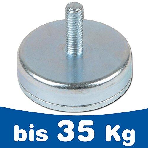 Flachgreifer Magnet Topfmagnet mit Gewindezapfen - Ø10-32mm - Neodym N35 (NdFeB) verzinkt - Haftkraft bis 35kg - Magnetsystem mit Gewinde (Aussengewinde), Größen:Ø 25 | M6 x 10 | 20kg Haftkraft