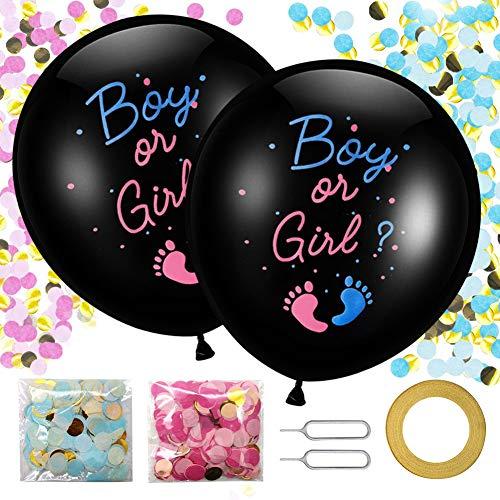 Globos de revelación de género de 91,4 cm, 2 globos de látex grandes para bebé niño o niña con aguja de confeti rosa azul cinta de color para baby shower, revelación de género, decoración de fiesta