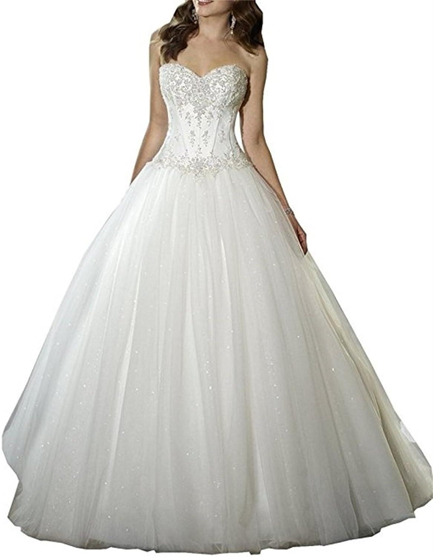 Ellystar Women's Luxury ALine Tulle Sleeveless LaceUp Sweetheart Bridal Gowns
