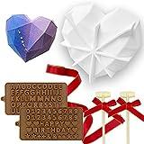 Molde de silicona con forma de corazón de diamante, 8 cavidades en forma de corazón, 2 martillos de madera, 2 moldes de chocolate y 1 cinta, utilizado para el día de San Valentín, hoga