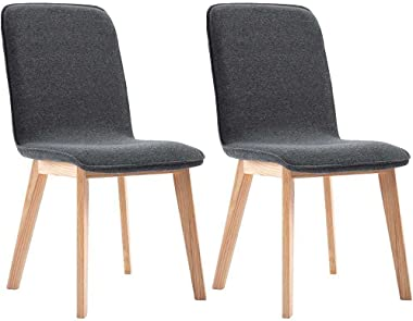 vidaXL Dining Chairs 2 pcs Grey Fabric