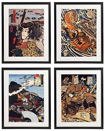 IDIOPIX Japanese Samurai Art Warriors Painting Wall Art Set of 4 Prints UNFRAMED No.5