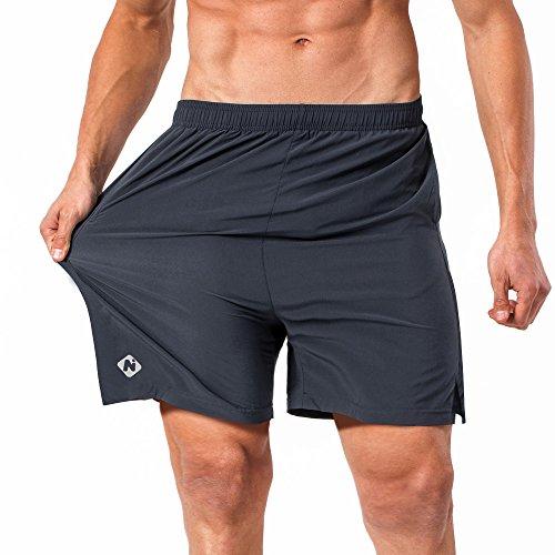 NAVISKIN Pantalones Cortos para Hombres Deporte Secado Rápido con Bolsillos de Cremallera Cordón Ligero Transpirable Elástica 13cm Gris M
