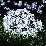 Guirnaldas Luminosas Solar, ZVO 7M 50 LED Sakura Flores Cadena de Luces Solares para Exteriores- 8 Modos Decorativa...
