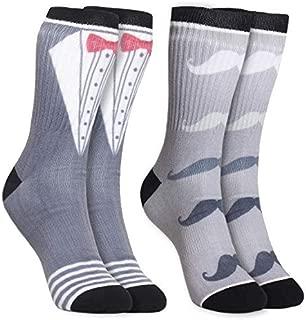 2-Pair Mens Novelty Crew Socks - Tuxedo and Mustache Print, Casual Trouser Socks