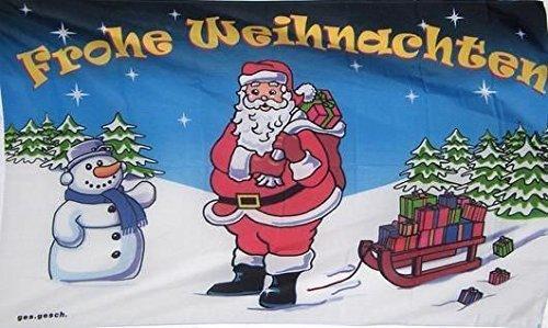 UB Fahne/Flagge Frohe Weihnachten Nikolaus & Schlitten Weihnachtsfahne 90 cm x 150 cm Neuware!!!