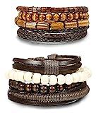 BESTEEL 8PCS Bracelet Cuir pour Homme Femme Unisexe Perles en Bois Corde Tressé Bracelet Elastique