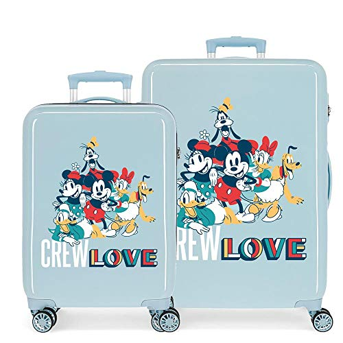 Disney Always Original Suitcase Set Blue 55/68 cm Rigid ABS Side Combination Lock 104L 6 kg 4 Double Wheels Hand Luggage