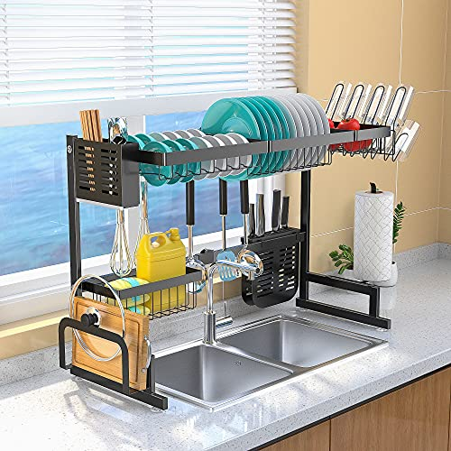Over Sink Dish Drying Rack Adjustable (33.5'-39.5'), Stainless Steel Length Expandable Kitchen Drainer, 2 Tier Countertop Organizer Supplies Storage Shelf Display Utensil Hooks Space Saver.